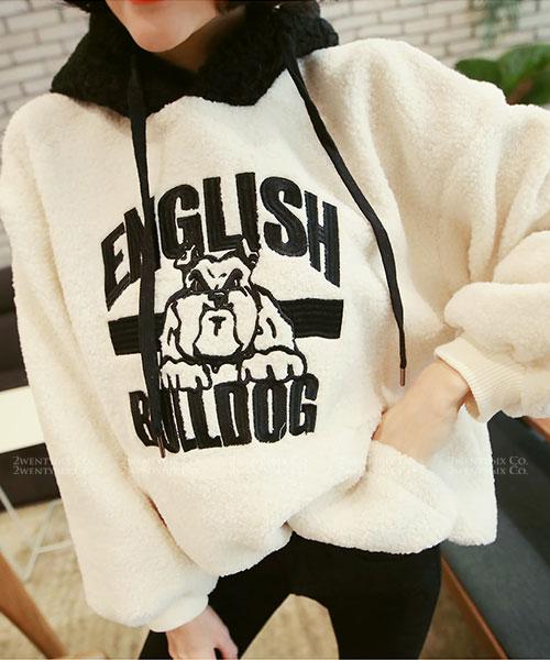 ★韓系English Bulldog★時尚綿暖奢華刺繡法鬥撞色束繩連帽上衣
