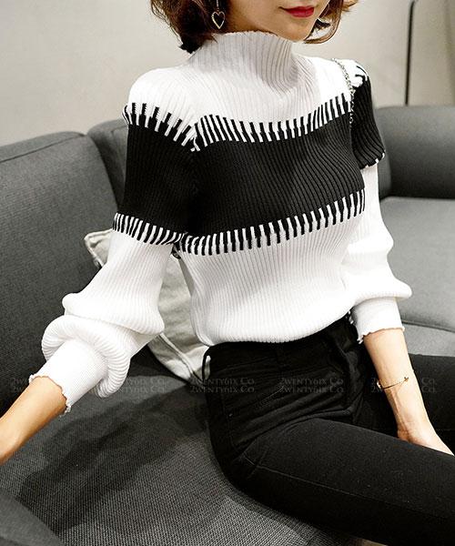 ★韓系 Chocolaccino ★時尚知性 質感拼色針織泡泡袖上衣