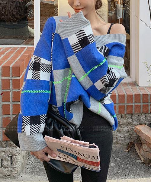 ★韓系BINBIN ★時尚鮮豔色彩個性格紋V領針織上衣(兩色)