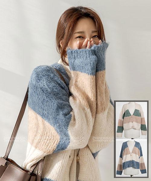 ★韓系HoneyBee ★柔美拼色休閒開衫排扣針織上衣/外套 (三色)