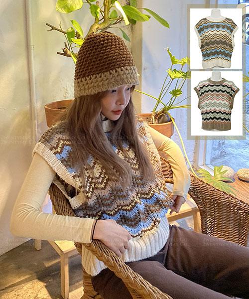 ★正韓 Bohem Knit ★ 可愛復古波西米亞風羊毛混紡條紋針織背心(三色)