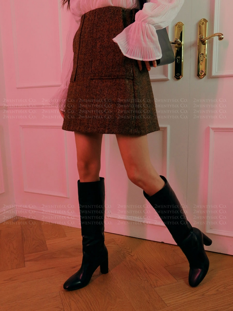 ★正韓Wool Herringbone ★時尚柔軟羊毛人字紋冷冬厚感口袋鬆緊短裙(兩色)