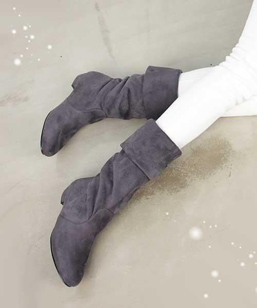 ★韓系Taylar KL. ★ 時尚優雅質感麂皮拼接 低跟高筒靴 (兩色)(可反摺筒靴)
