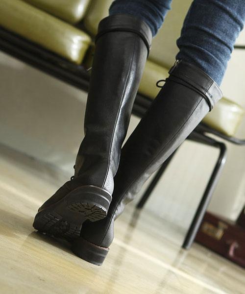 ★正韓 Rider Boots ★時尚經典 荔枝紋皮革騎士繫帶厚底高筒靴