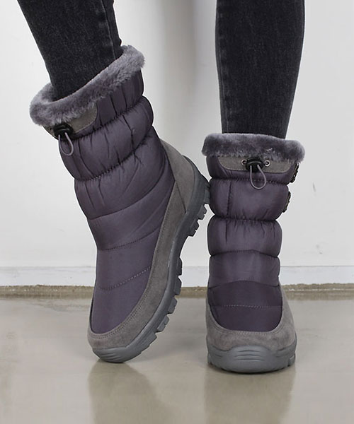 ★正韓 Snow Racer★時尚率性 奢華綿絨舖裡尼龍皮革雙帶束口厚底中低筒靴 (兩色)