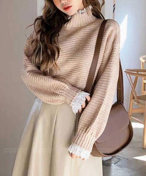 ★正韓 Katherine ★時尚休閒 柔美橫壓紋針織上衣拼接蕾絲領+袖子上衣 (四色)