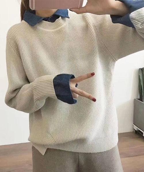 ★正韓 KIKI ★休閒率性 假兩件撞色翻領襯衫領拼接針織上衣 (三色)