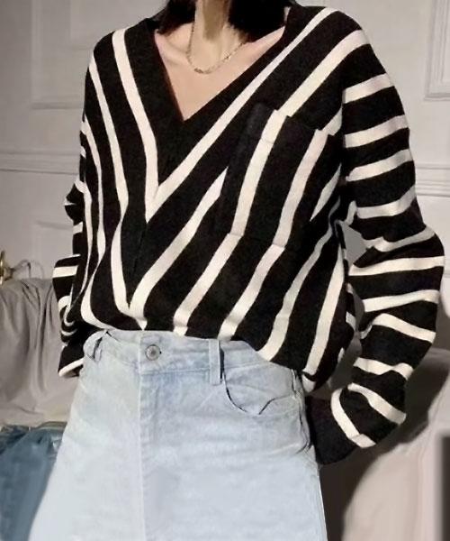 ★正韓 Mavis Stripe ★ 時尚質感率性鮮明條紋V領針織上衣 (兩色)