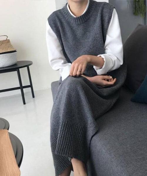 ★正韓 Alethea ★ 百搭氣質簡約 開叉長版針織背心裙 (兩色)