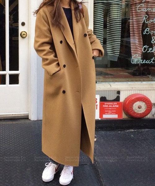 ★正韓 Charissa Woolen ★ 時尚質感雙排扣毛呢長版外套 (兩色)