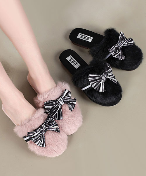 ★ 韓系Sweet Ribbon ★時尚甜美奢華貂毛絨黑白緞帶低底冬季室內拖 (兩色)
