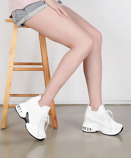 ★ 韓系OFFWHITE ★時尚率性 透氣彈性網布圓繫帶厚底休閒鞋 (兩色)