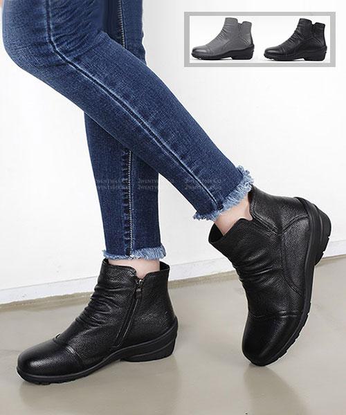★ 韓系Debby Leather ★ 時尚質感刷色真皮 保暖拉絨舖裡 拉鏈短靴 (兩色)