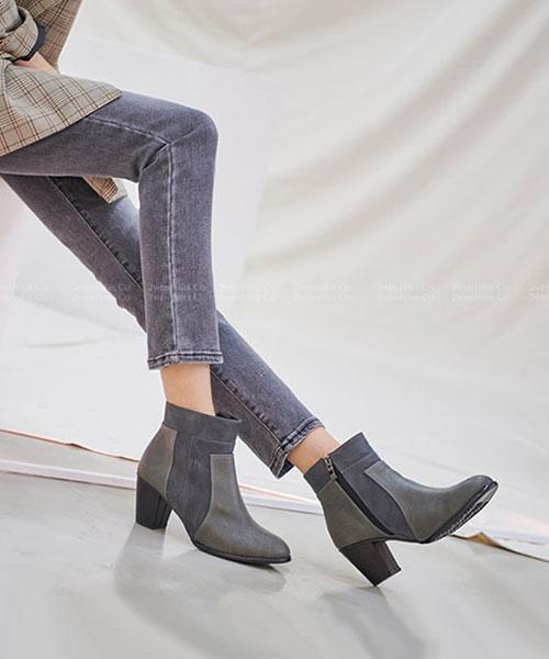 ★ 正韓Deirdre ★ 率性雙皮革刷色真牛皮 保暖拉絨內舖裡 拉鏈中跟短靴 (三色)