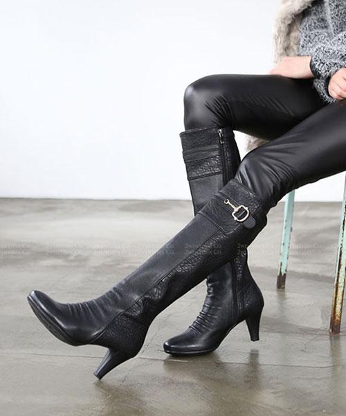 ★ 正韓 Eudora ★ 時尚個性奢華 荔枝紋真牛皮 金屬扣環 側拉鏈 高跟長靴 (兩色)