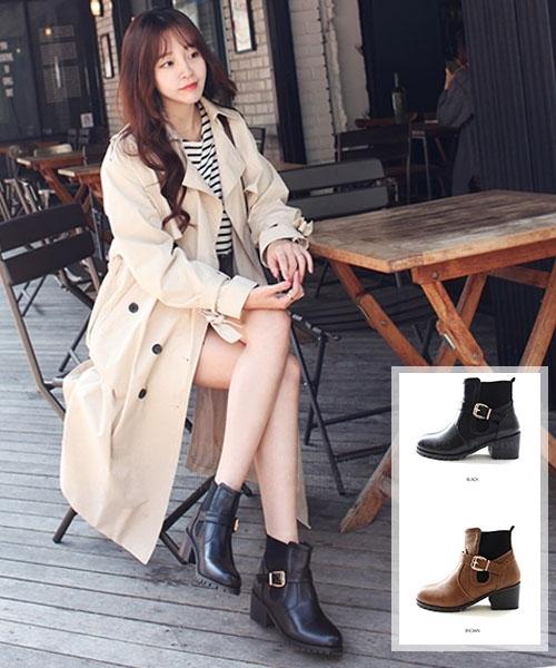 ★ 正韓 Hermosa  Leather ★ 個性真牛皮 側拉鏈 金屬扣帶 保暖拉絨裡 低跟長靴 (兩色)