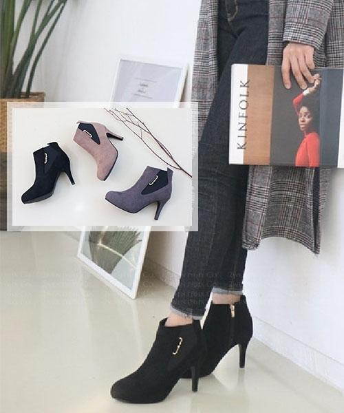 ★ 韓系 Luxury Sweety ★ 時尚奢華麂皮絨金屬配飾 拼彈性布 甜美圓弧細高跟裸靴 (三色)