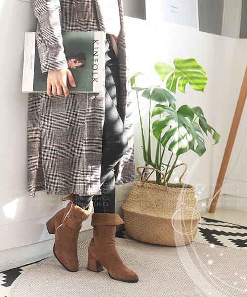 ★ 韓系NorthPole PH ★ 時尚帥氣 內鋪保暖短毛絨 圓環拉鏈 粗跟中筒靴 (兩穿式可翻摺)(三色)