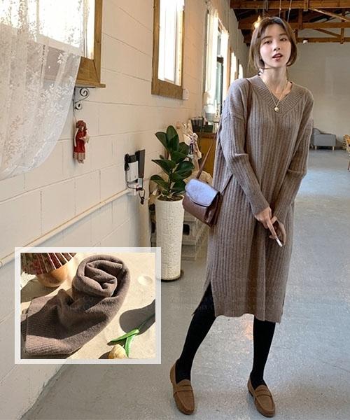 ★ 正韓 Solita Knit Set ★休閒質感羊毛混紡開叉針織連衣裙+圍巾(兩件套)