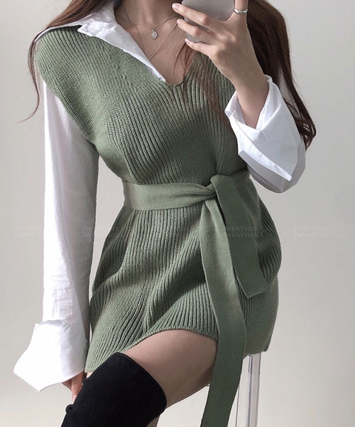★ 正韓 MONT ★ 率性翻領白襯衫&綁帶背心裙 (兩件套)(兩色)