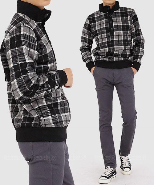 ★ 正韓 Nilsson Plaid ★時尚撞色拉絨格紋立領上衣 (兩色)(L-2XL)