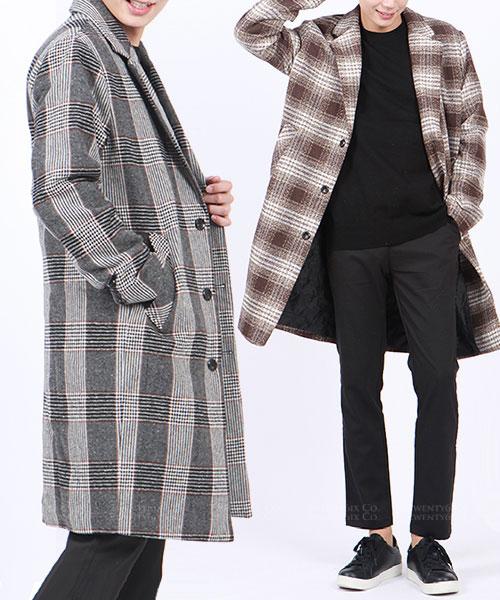 ★ 正韓 Kronborg Wool ★羊毛格紋棉絨防風裡長版外套(兩色)(M-XL)