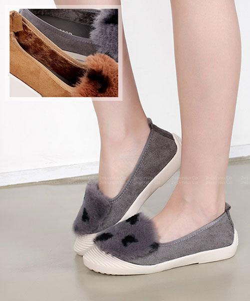 ★ 韓系 CHOCODD ★超萌可愛點點毛絨 棉絨舖裡 平底娃娃鞋 (三色)