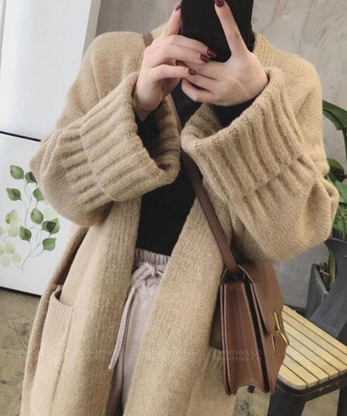 ★正韓 Wool TKnit ★ 氣質羊毛雙口袋厚實保暖長版針織外套(三色)