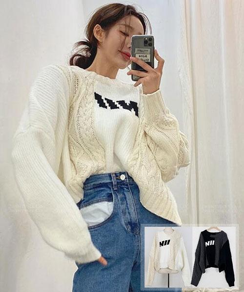 ★ 正韓 NII Knit ★ 個性造型雙毛線麻花混織 圓領針織上衣 (兩色)