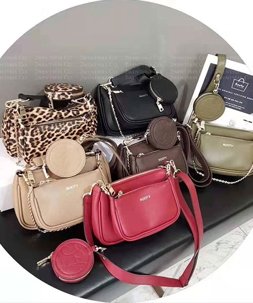 ★韓國品牌 Rooty Douge ★ 爆款皮革大小子母拉鏈包+零錢包 (六色)