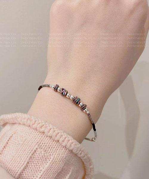 ★韓國 Natural JW ★新款 925純銀 樸質天然原石珠串彈力手鍊