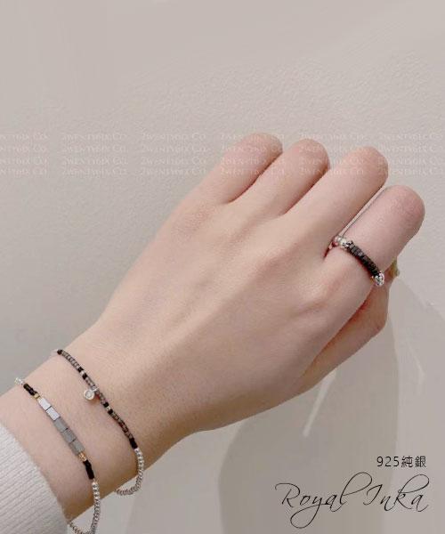 ★韓國 Royal INKA ★ 925純銀原石珠串彈力戒指+雙手鍊(3件組)