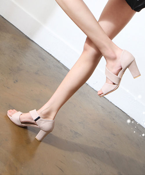★正韓★ Mercci Spiral 率性磨砂皮革 露趾高跟鞋
