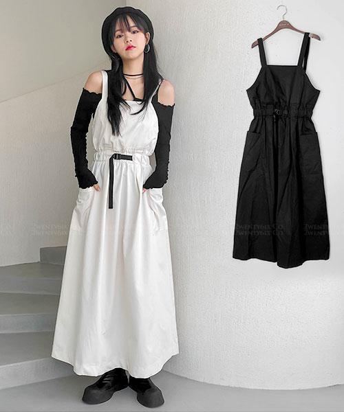 ★ 正韓 HaSu ★ 個性造型束腰腰帶 純棉 口袋 吊帶裙/連衣裙 (兩色)