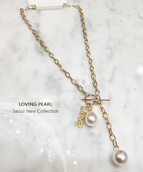 ★正韓 LOVING PEARL ★ 時尚個性 粗曠圈鍊 拼串雙珍珠 扣環項鍊