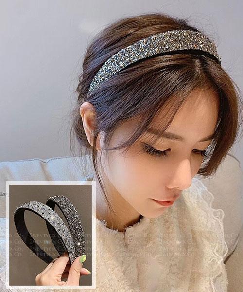★正韓 Myrna Stone ★ 時尚閃耀 漸層立體水鑽 寬髮箍 (兩色)