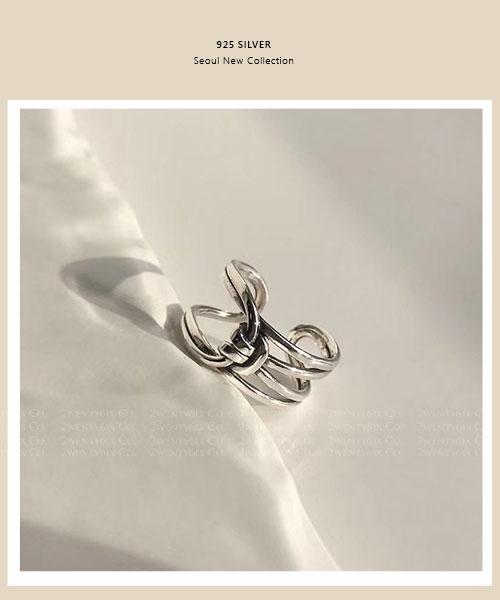 ★正韓 KNOT CLAW ★ 925純銀 個性造型 繩結開口戒指&尾戒(分購)
