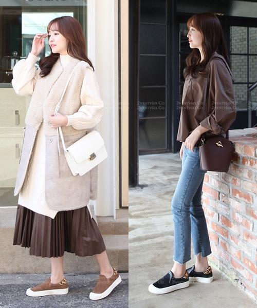 ★韓系 Aurora Leather ★ 休閒真皮可愛豹紋後跟3cm懶人鞋 (三色)
