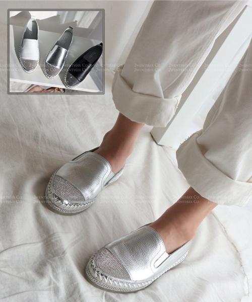 ★韓系 Alantic MC ★個性金屬皮革鑲鑽 粗繩排鑽 懶人鞋(三色)