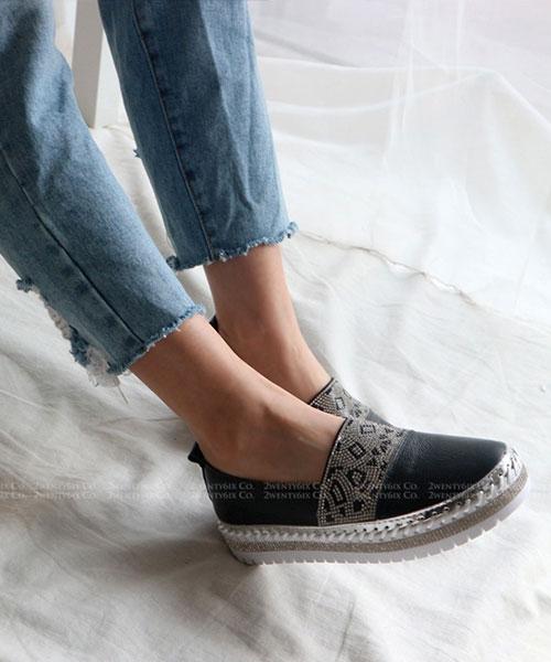 ★韓系 PAC GEO ★ 個性皮革幾何排鑽 粗繩排鑽 懶人鞋(三色)