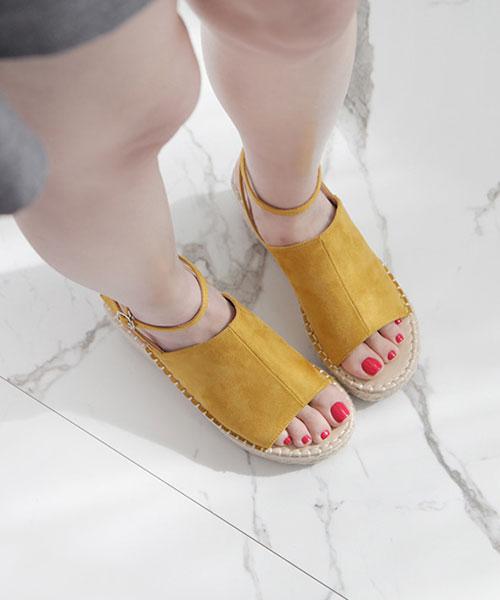 ★韓系 Gabrielle AK ★絕美一片式麂皮絨  踝套扣帶  楔型底露趾涼鞋 (五色)