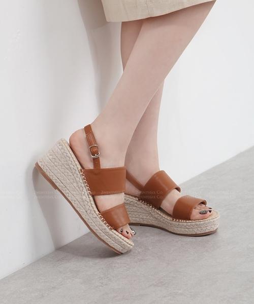 ★韓系Florence Twin ★休閒雙帶皮革 後扣帶  楔型底露趾涼鞋(五色)