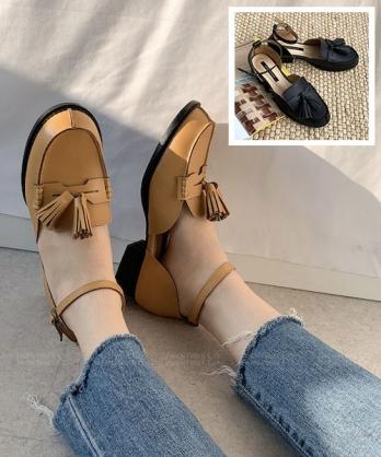 ★韓系Tassel Toll ★ 質感皮革 可愛中簍空 低跟流蘇娃娃鞋 (兩色)