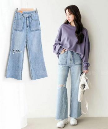 ★ 正韓 Surf Jeans ★ 個性刷破 寬鬆舒適寬褲管 鬆緊腰牛仔褲 (S~XL)