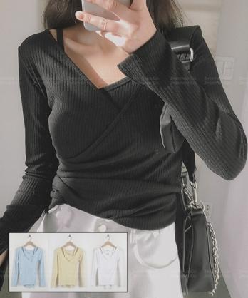 ★正韓 DOMINI Set ★ 休閒百搭純棉修身兩件套 吊帶背心+交錯長袖上衣