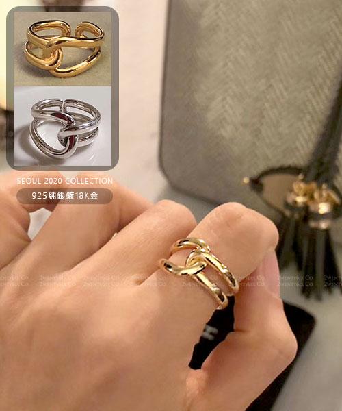 ★正韓 KTNOT ★ 925純銀 鍍18K金 扭結開口戒圍戒指(兩色)