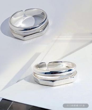 ★正韓 Christine ★ 925純銀鍍18K金 雙幾何開口戒圍 戒指