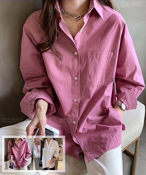 ★正韓 Janey ST. ★ 休閒個性 質感舒適 口袋 翻領襯衫 (兩色)
