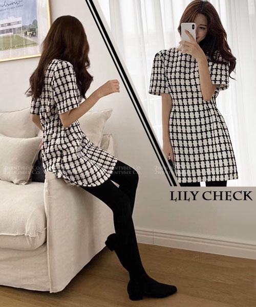 ★正韓 LLILY CHECK ★時尚優雅 超值厚感 經典格紋 針織連衣裙 (兩色)