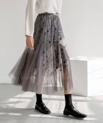 ★正韓 LUCILE DOT ★時尚率性 閃耀點點 漸層網紗長裙 (三色)